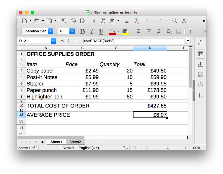 Screenshot of the office supplies order spreadsheet