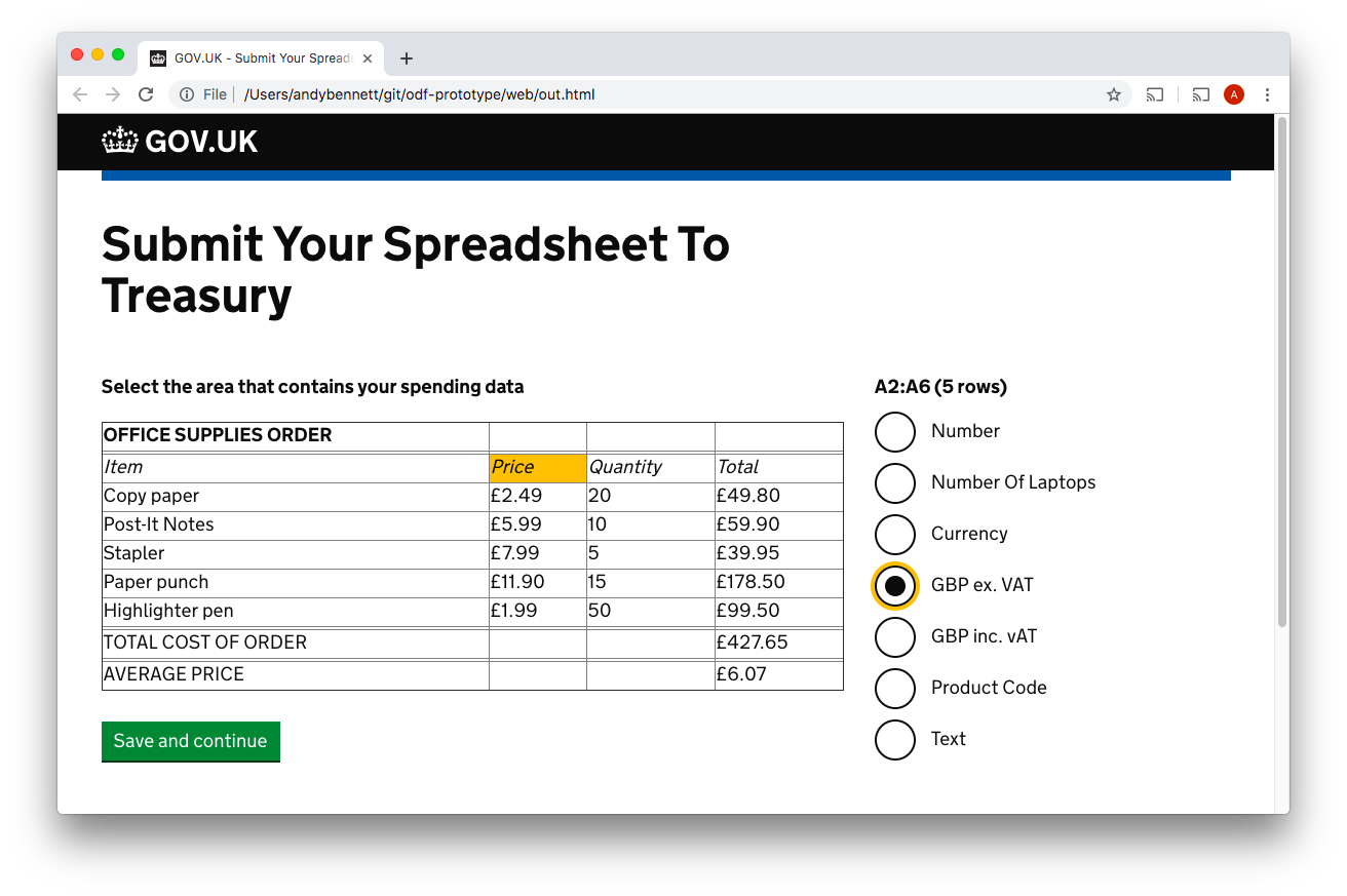 Screenshot of using the service to declare a something as a currency value, in Sterling and excluding VAT
